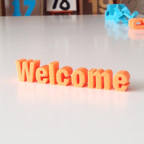3Dプリンターで作ったwelcomの文字